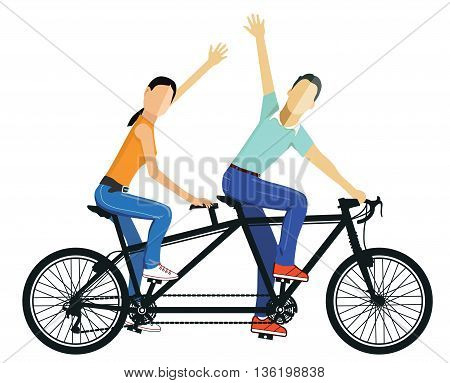 A couple drives Tandem, bicycle, cycling, partnership, lifestyle