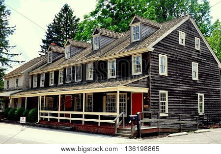 Dilworthtown Pennsylvania: Colonial-era wooden Innkeeper's Kitchen Restaurant at the historic 1758 Dilworthtown Inn *