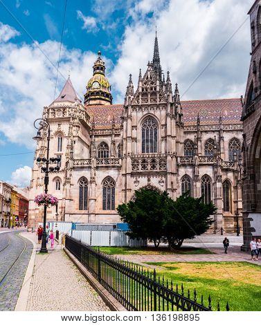 Kosice, Slovakia - July 10, 2015: picturesque view on majestic St. Elisabeth Cathedral and a nearby square
