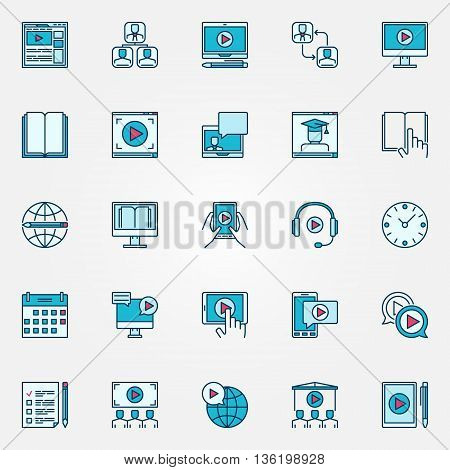 Online education flat icons. Webinar and seminar colorful symbols. Video conference and online education blue signs