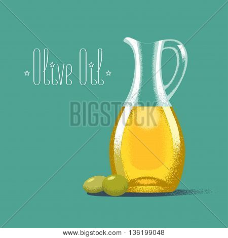 Olive oil vector illustration, background. Design element with bottle with oil and green olives