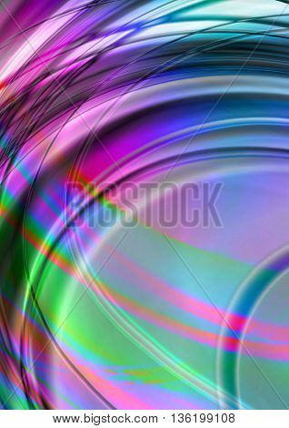 Bright abstract background with intersecting illuminated arcs and wavy stripes