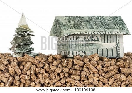 Money tree and a house origami folded from hundred dollar bills onto compressed pallets isolated on white background