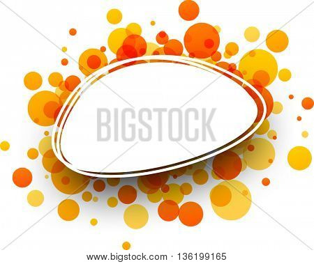 Paper oval white background with orange drops. Vector illustration.