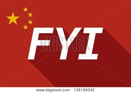 Long Shadow China Flag With    The Text Fyi