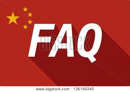 Long Shadow China Flag With    The Text Faq