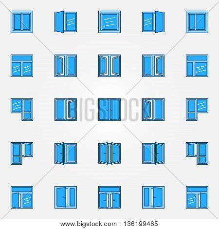 Window blue icons set. Vector blue flat concept windows. Colorful house window symbols or logo elements