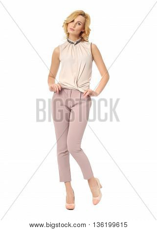Beautiful Blonde Business Woman Posing On Isolated White