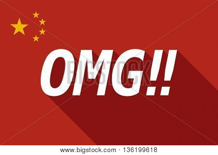 Long Shadow China Flag With    The Text Omg!!