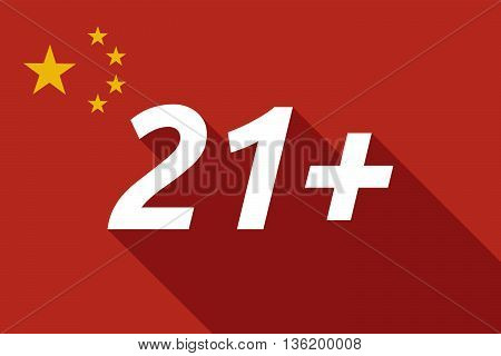 Long Shadow China Flag With    The Text 21+