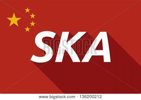 Long Shadow China Flag With    The Text Ska
