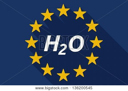 Long Shadow European Union Flag With    The Text H2O