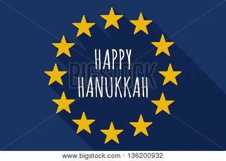 Long Shadow European Union Flag With    The Text Happy Hanukkah