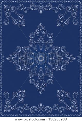 Vintage frame with blue luxury ornament on blue background