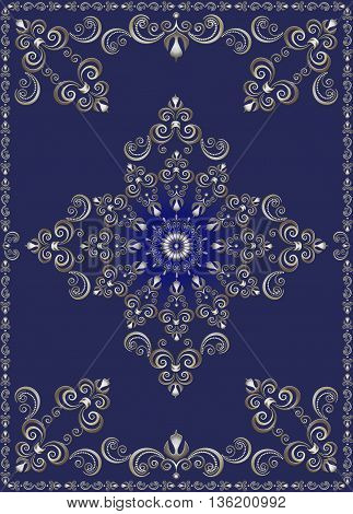 Vintage  frame with silver luxury ornament on ultramarine background