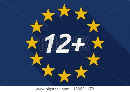 Long Shadow European Union Flag With    The Text 12+