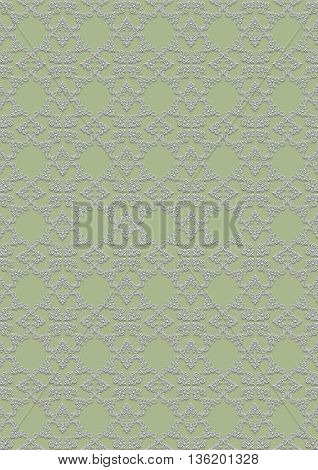 Seamless light coloured floral pattern on greenish background