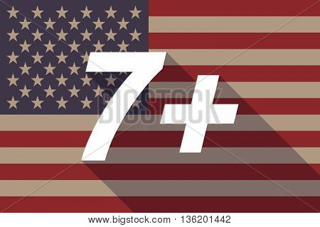 Long Shadow Usa Flag With    The Text 7+