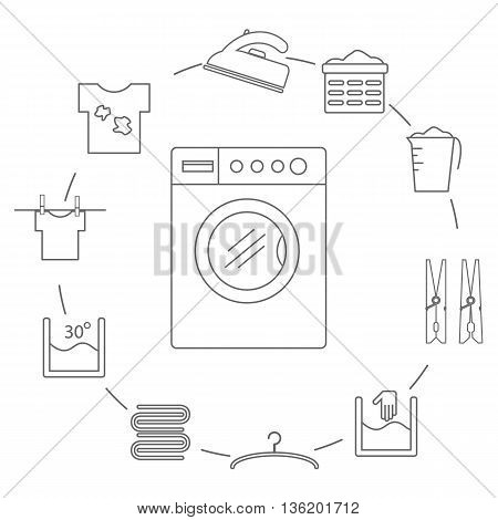 Set of icons in the style of a laundry line. Laundry icons arranged in a circle. Vector illustration.