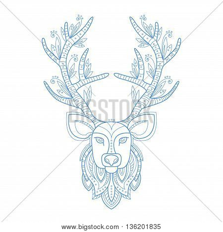 Deer Head Stylised Doodle Zen Coloring Book Page Hand Drawn Vector Illustration In Trendy Sketch Style On White Background