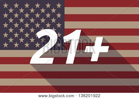 Long Shadow Usa Flag With    The Text 21+