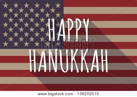 Long Shadow Usa Flag With    The Text Happy Hanukkah