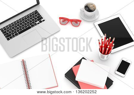 Office workplace set on white table. Pc, tablet, smartphone, notebook, red stationery, red glasses, cup of coffee. 3d rendering.