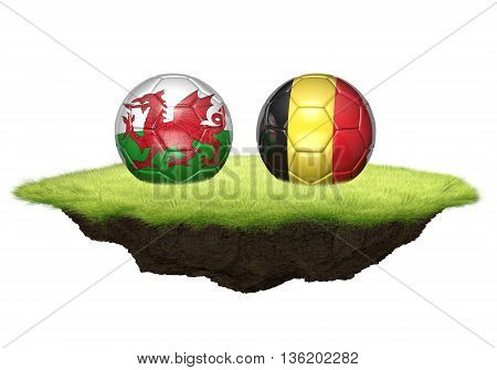 Wales vs Belgium team balls for football championship tournament, 3D rendering