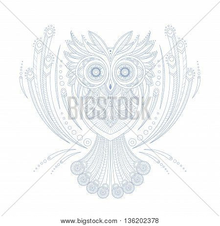 Owl Stylised Doodle Zen Coloring Book Page Hand Drawn Vector Illustration In Trendy Sketch Style On White Background