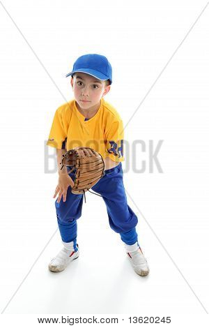 Child Baseball Softball Player Crouching With Mitt