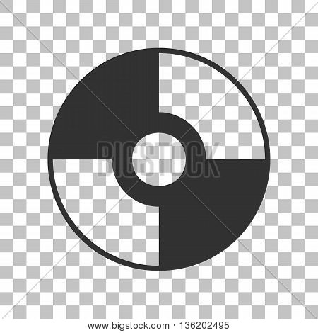 Vector CD or DVD sign. Dark gray icon on transparent background.