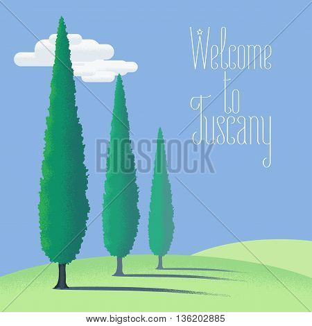 Tuscany, Toscana farm land vector illustration, background, design element. Italy countryside view