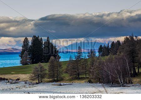 beautiful scenic of lake pukaki aoraki - mt.cook national park new zealand