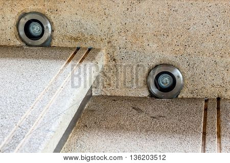 washed gravel staircase decorate with Led bulbs light