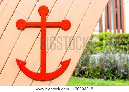 close up sailor symbol on the wooden wall