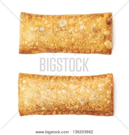 Oil fried crunchy pie isolated over the white background, set of two different foreshortenings