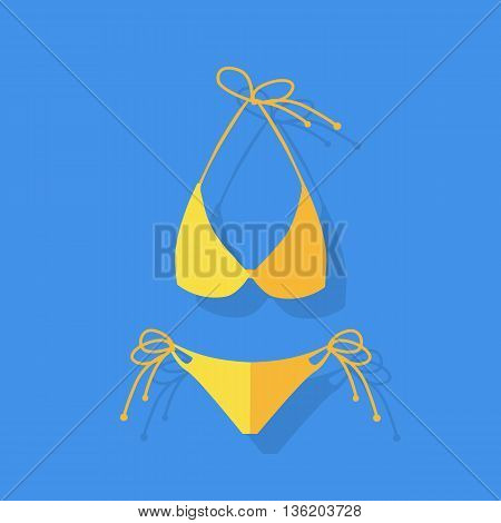 Female yellow swimsuit sexy sensual bikin isolated on blue background. Fashion cloth vacation accessory. Vector illustration
