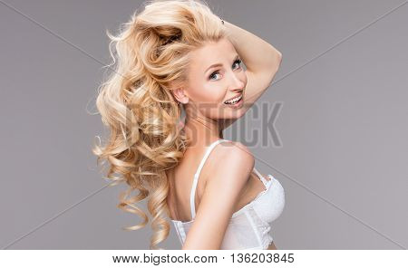 Closeup Beauty Portrait Of Blonde Lady.