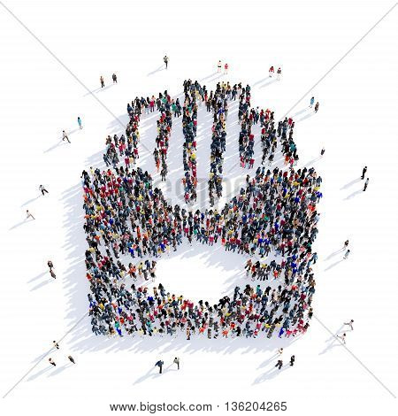 Large and creative group of people gathered together in the shape of french fries, fast food, eating, image. 3D illustration, isolated against a white background.