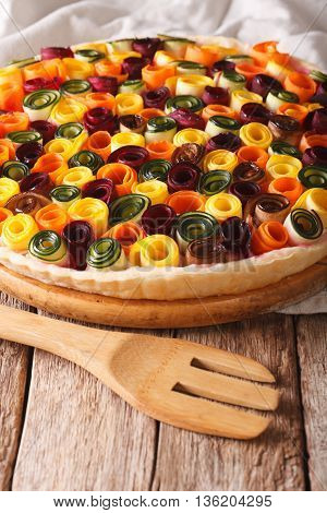 Healthy Eating: Summer Vegetable Tart Close-up. Vertical