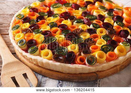 Beautiful Vegetable Tart Close-up On The Table. Horizontal