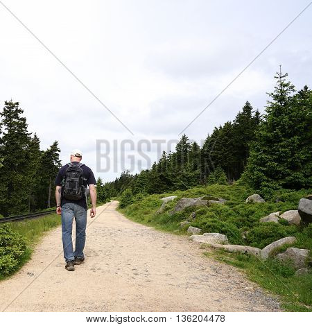 Walking on the Goetheweg at the foot of Brocken in the Harz National Park