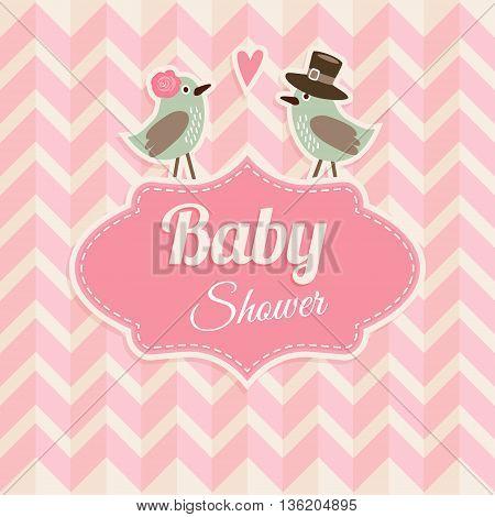 Cute baby shower birthday wedding card invitation with birds in love. Chevron pattern. Vintage design vector illustration background.
