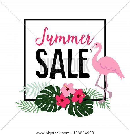 Summer sale. Flamingo bird with palm leaves hibiscus flowers. Web banner background. Stock vector illustration. Flat jungle design.
