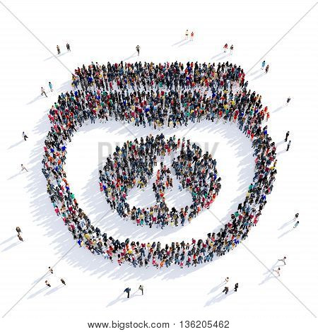 Large and creative group of people gathered together in the shape of jam, food, image. 3D illustration, isolated against a white background.