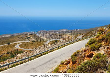 Curvy Road Near Chora Sfakion Town On Crete, Greece