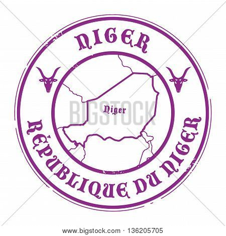 Grunge rubber stamp with the name and map of Niger, vector illustration