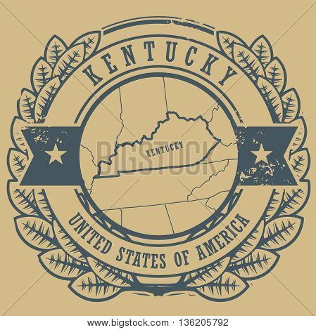 Grunge rubber stamp with name and map of Kentucky, USA, vector illustration