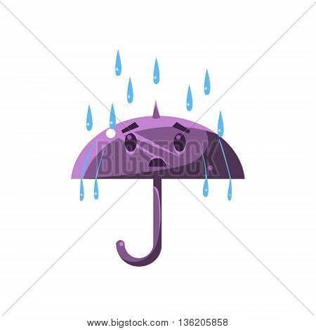 Umbrella Under The Heavy Rain Cute Childish Style Bright Color Design Icon Isolated On White Background