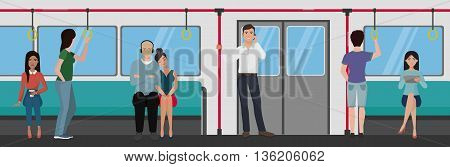 People inside a subway train. People metro transportation concept
